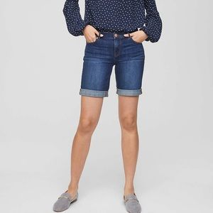 Loft denim Bermuda shorts in classic dark wash